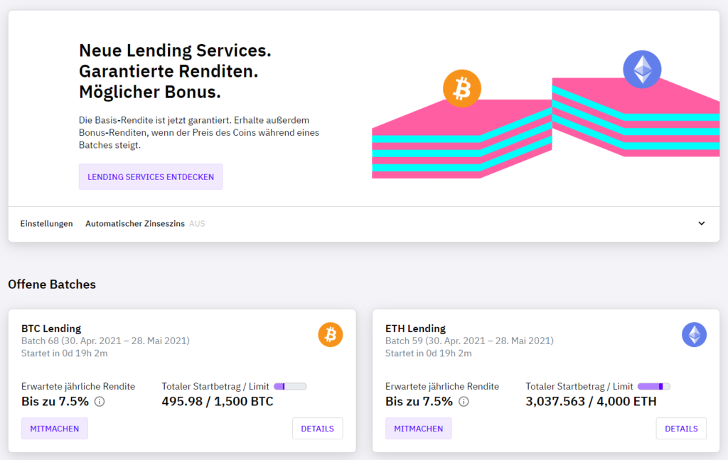 CakeDeFi Lending Service